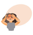 woman having severe headache migraine vector image