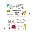 set of business cards pop art geometric vector image