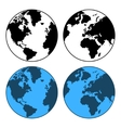 Earth Map Set Isolated on White vector image