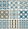 3 color tile pattern blue gray black vector image