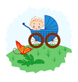 Baby boy from pram watching a butterfly vector image vector image