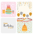 birthday decoration card in flat design vector image vector image