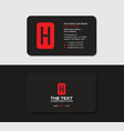 black business cards with the red letter h vector image vector image