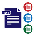 blue txt file document download txt button icon vector image vector image