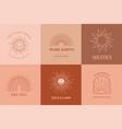 bohemian linear logos icons and symbols sun vector image vector image