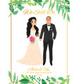 bride and groomcouple wedding card with the vector image vector image