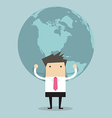 Businessman holding big globe vector image vector image