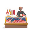 butchers shop with fresh meat and friendly seller vector image vector image