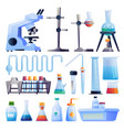 chemical laboratory glassware equipment icons set vector image vector image