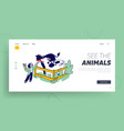 child character spend time in animal petting park vector image