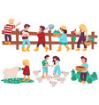 children helping at farm kids with animals and vector image vector image