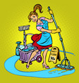 cleaning lady washes floor vector image