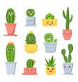 cute cactus with faces cartoon succulent pot vector image vector image