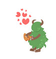cute green monster playing guitar happy valentines vector image