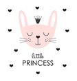 cute princess bunny in crown vector image vector image