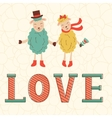 Cute Valentines day card with cute happy sheeps vector image vector image