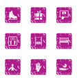 enrichment icons set grunge style vector image