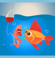 fish and worm characters fishing vector image vector image