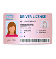 flat woman driver license plastic card template vector image vector image