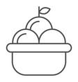 fruit basket thin line icon basket of apples vector image vector image