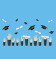 graduating students of pupil hands vector image