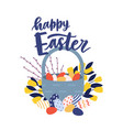 greeting card template with happy easter wish vector image vector image