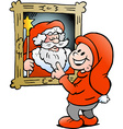 Hand-drawn of an Happy Christmas Elf looking at a vector image vector image