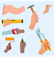 Hands with construction tools cartoon style