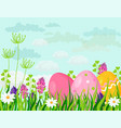 happy easter eggs card holiday green vector image