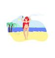 happy woman make selfie standing on summer beach vector image vector image