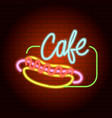 hot dog cafe neon light icon realistic style vector image vector image