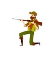 hunter man with rifle gun aiming to shoot vector image