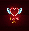 i love you neon label vector image vector image