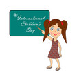 international childrens day label with girl vector image vector image