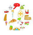 italy icons set in cartoon style vector image vector image