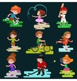 Kids sport isolated boy and girl playing active vector image vector image