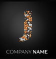 letter j logo gold-silver dots alphabet logotype vector image