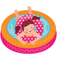 Little girl splashing in the summer inflatable poo vector image