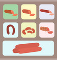 meat products set of cartoon delicious barbecue vector image vector image