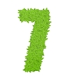 Number 7 consisting of green leaves vector image vector image