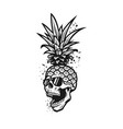 pineapple skull in a sunglasses tee shirt vector image