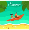 Seascape with People Red Banana Boat vector image vector image