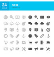 seo line web glyph icons vector image