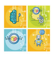 set of artificial intelligence vector image vector image