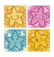 set of cute stars cartoons vector image