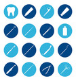 set white dental icons on color background vector image vector image