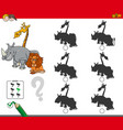 shadow activity game with animal characters vector image vector image