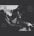 southeast asia map - grey colored on dark vector image vector image