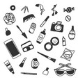 sticker beauty items set hand drawn cartoon vector image