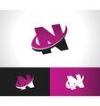 Swoosh Alphabet Icon N vector image vector image